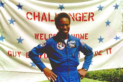 In this Sept. 5, 1983, file photo, Guion Bluford, Jr., shuttle Challenger mission specialist, is shown in portrait on returning to the Johnson Space Center in Houston, Texas. The documentary