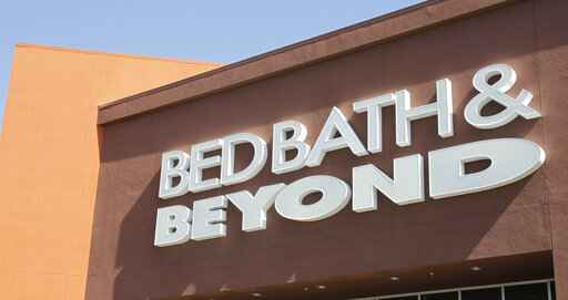 FILE - In this May 9, 2012 file photo, a Bed Bath & Beyond sign is shown in Mountain View, Calif.  Shares of Bed Bath & Beyond are moving sharply higher before the opening bell, Wednesday, Feb. 19, 2020, after executives rolled out a raft of initiatives to turn the struggling chain around.  (AP Photo/Paul Sakuma, File)