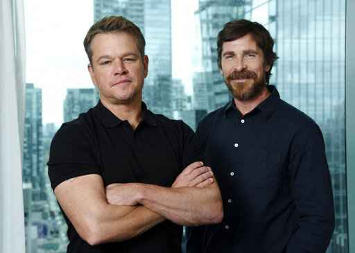 This Sept. 8, 2019 photo shows co-stars Matt Damon, left, and Christian Bale posing for a portrait to promote their film