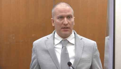 FILE - In this June 25, 2021, file image taken from video, former Minneapolis police Officer Derek Chauvin addresses the court as Hennepin County Judge Peter�Cahill presides over Chauvin's sentencing at the Hennepin County Courthouse in Minneapolis. A coalition of news media outlets, including The Associated Press, is asking the judge who oversaw the trial of Chauvin to release the identities of jurors who convicted him in the death of George Floyd. In a court filing Wednesday, Aug. 4, 2021, the coalition said the court's desire to protect jurors from unwanted publicity is not grounds to keep their identities sealed under law. Chauvin was found guilty of murder and manslaughter and was sentenced to 22 1/2 years. (Court TV via AP, Pool, File)