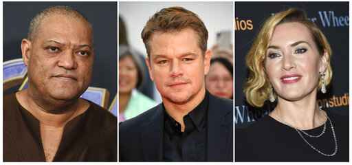 This combination photo shows actors, from left, Laurence Fishburne, Matt Damon and Kate Winslet, who are among the stars of the 2011 thriller