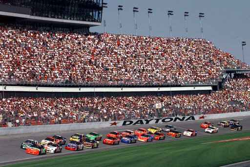 FILE - In this Feb. 11, 1999, file photo, drivers in the first 125-mile Daytona 500 qualifying race start the race at Daytona International Speedway in Daytona Beach, Fla. Daytona Beach became the unofficial