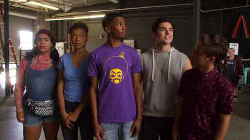 This image released by Netflix shows, from left, Jessica Marie Garcia, Sierra Capri, Brett Gray, Diego Tinoco and Jason Genao from the series