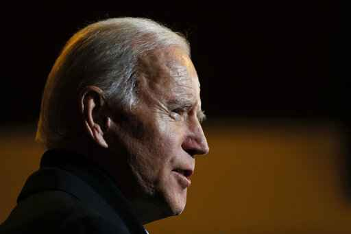 Democratic presidential candidate, former Vice President Joe Biden speaks during a meeting with local residents, Sunday, Dec. 1, 2019, in Spencer, Iowa. (AP Photo/Charlie Neibergall)