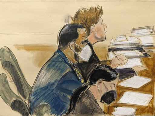 In this courtroom artist's sketch R. Kelly, left, listens during his trial in New York, Thursday, Aug. 26, 2021. The 54-year-old Kelly has repeatedly denied accusations that he preyed on several alleged victims during a 30-year career highlighted by his mega hit