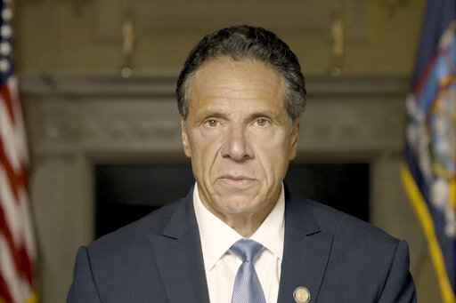 In this image taken from video provided by Office of the NY Governor, New York Gov. Andrew Cuomo makes a statement on a pre-recorded video released, Tuesday, Aug. 3, 2021, in New York. An investigation into New York Gov. Andrew Cuomo has found that he sexually harassed multiple current and former state government employees. State Attorney General Letitia James announced the findings Tuesday. (Office of the NY Governor via AP )