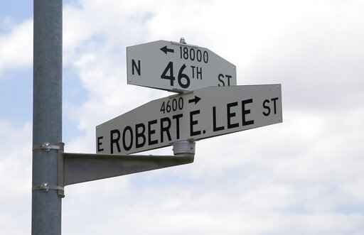 Phoenix officials are set to begin the process of changing the names of two streets, voting to rename Squaw Peak Drive and Robert E. Lee Street, shown here on Thursday, July 2, 2020, in Phoenix. (AP Photo/Ross D. Franklin)