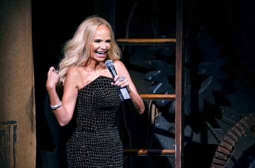 Actress Kristin Chenoweth gives the curtain speech on the stage of