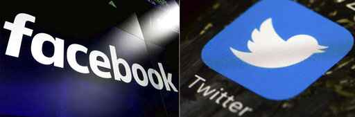 FILE - This combination of photos shows logos for social media platforms Facebook and Twitter. Facebook and Twitter moved quickly this week to limit the spread of a disputed tabloid story promising new twists in the saga of Joe Biden's relationship with Ukraine. President Donald Trump's campaign quickly seized on the story in the New York Post - but the report raised more questions than answers, including about the authenticity of an email at the center of the story. Wednesday morning Oct. 14, 2020, hours after the story's publication, a Facebook spokesman tweeted that the company was limiting its distribution on the platform.(AP Photo/File)