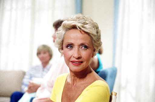 FILE - In this July 1986 file photo, Actress Jane Powell poses for a  photo in New York. Jane Powell, the bright-eyed, operatic-voiced star of Hollywood's golden age musicals who sang with Howard Keel in