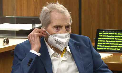 FILE - In this still image taken Wednesday, May 19, 2021, from the Law & Crime Network court video, real estate heir Robert Durst watches as his defense attorney Dick DeGuerin presents a new round of opening statements in the murder case against Durst in Los Angeles County Superior Court in Inglewood, Calif. Durst is expected to take the stand at his Los Angeles County murder trial on Thursday, Aug. 5. (Law & Crime Network via AP, Pool, File)