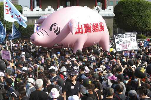 People hold a pig model with a slogan