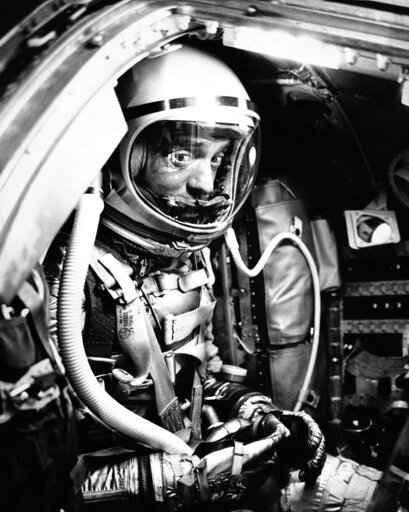 FILE - In this May 5, 1961 file photo, astronaut Alan Shepard sits in his capsule at Cape Canaveral, Fla., aboard a Mercury-Redstone rocket. Freedom 7 was the first American manned suborbital space flight, making Shepard the first American in space. (AP Photo)