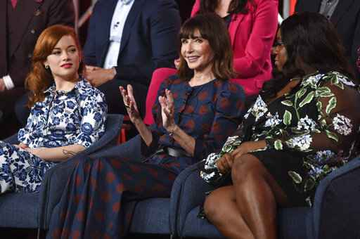 FILE - In this Jan. 11, 2020, file photo, Mary Steenburgen, center, a cast member in the NBCUniversal series