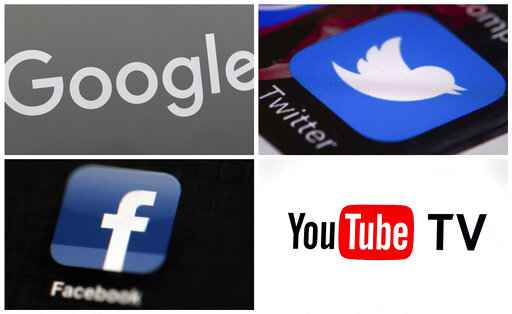 FILE - This photo combo of images shows, clockwise, from upper left: a Google sign, the Twitter app, YouTube TV logo and the Facebook app.  Facebook, Twitter and YouTube were quickly put to the test early Wednesday, Nov. 4, 2020 after President Donald Trump told a crowd of cheering supporters at the White House that he would challenge the results of the presidential election.  He also tweeted and posted on Facebook misleading statements about the election. The social media platforms have been working for months, if not years since the last presidential election, to prepare for Trump's unsubstantiated claims of election fraud and premature victory declarations.  (AP Photo)