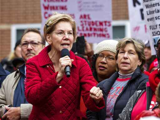 Presidential candidate U.S. Sen. Elizabeth Warren (D-MA) joins striking Chicago Teachers Union and SEIU Local 73 members for a speech on the picket line outside Oscar DePriest Elementary School on the West Side, Tuesday, Oct. 22, 2019. (Ashlee Rezin Garcia/Chicago Sun-Times via AP)