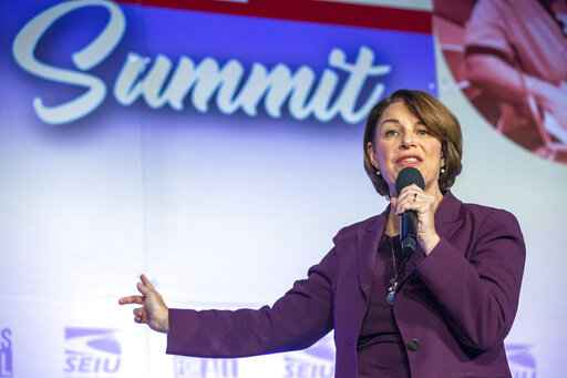 Democratic presidential candidate Sen. Amy Klobuchar, D-Minn., speaks at the SEIU Unions For All Summit, Saturday, Oct. 5, 2019, in Los Angeles. (AP Photo/Damian Dovarganes)