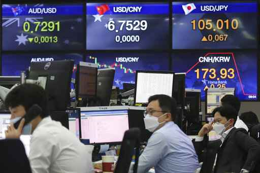 Currency traders work at the foreign exchange dealing room of the KEB Hana Bank headquarters in Seoul, South Korea, Thursday, Sept. 17, 2020. Asian stock markets declined Thursday after the U.S. Federal Reserve indicated its benchmark interest rate will stay close to zero at least through 2023 but announced no additional stimulus plans. (AP Photo/Ahn Young-joon)