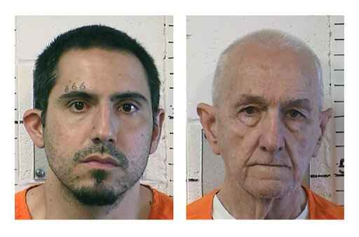 FILE - In file photos provided by the California Department of Correction and Rehabilitation are Jason Budrow, left, and Roger Reece Kibbe. Budrow, accused of strangling the California serial killer known as the