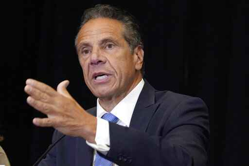 FILE - New York Gov. Andrew Cuomo speaks during a news conference at New York's Yankee Stadium, Monday, July 26, 2021. State lawmakers are telling Gov. Andrew Cuomo that their ongoing impeachment investigation is