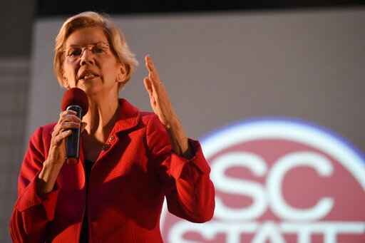 "FILE - In this Oct. 9, 2019, file photo, Democratic presidential candidate Sen. Elizabeth Warren speaks about the student loan debt relief legislative at South Carolina State University in Orangeburg, S.C. Warren has been rising in the polls for months, has become a Democratic presidential primary front runner who is being portrayed by Kate McKinnon on ""Saturday Night Live."" But for many, Warren is still a relative unknown.  (AP Photo/Meg Kinnard, File)"