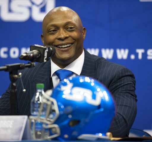 New Tennessee State University NCAA college football head coach Eddie George smiles during a press conference in Nashville, Tuesday, April 13, 2021. (George Walker/The Tennessean via AP)