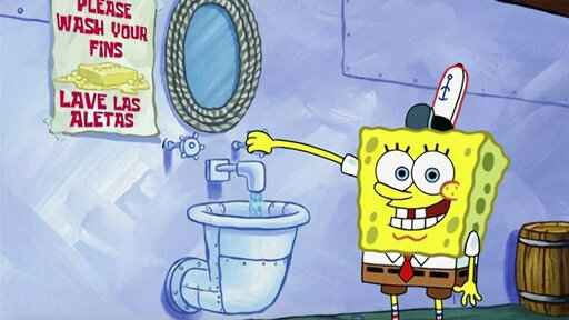 This image released by Nickelodeon shows animated character SpongeBob SquarePants demonstrating effective handwashing in a video to be shown on Nickelodeon's cable and digital platforms. Nickelodeon is airing a special with a