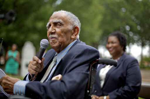 FILE - In this Aug. 14, 2013, file photo, civil rights leader the Rev. Joseph E. Lowery speaks at an event in Atlanta announcing state lawmakers from around the county have formed an alliance they say will combat restrictive voting laws, Lowery, a veteran civil rights leader who helped the Rev. Dr. Martin Luther King Jr. found the Southern Christian Leadership Conference and fought against racial discrimination, died Friday, March 27, 2020, a family statement said. He was 98. (AP Photo/David Goldman, File)