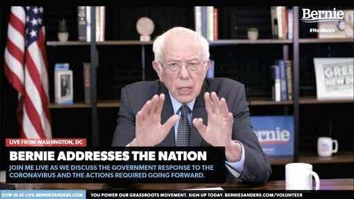 In this image from video provided by BernieSanders.com, Democratic presidential candidate Sen. Bernie Sanders, I-Vt., speaks from Washington, Tuesday, March 17, 2020. The coronavirus has disrupted American life, and the 2020 presidential campaign is no exception. Amid calls for social distancing to stop the pandemic's spread, Democrats Joe Biden and Bernie Sanders, as well as Republican President Donald Trump, have had little choice but to call off large-scale public events in favor of politicking online and over the airwaves.  (BernieSanders.com via AP)