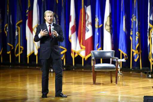 Democratic presidential candidate Tom Steyer, left, addresses an environmental justice forum. Friday, Nov. 8, 2019, in Orangeburg, S.C. (AP Photo/Meg Kinnard)