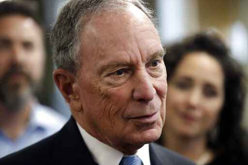 "FILE - In this Jan. 29, 2019 file photo, potential Democratic presidential candidate Michael Bloomberg speaks to workers during a tour of the WH Bagshaw Company, a pin and precision component manufacturer, in Nashua, N.H. Bloomberg, the billionaire former mayor of New York City, is opening the door to a 2020 presidential campaign. Bloomberg announced earlier this year that he would not seek the Democratic nomination. But in a statement, his political adviser Howard Wolfson says Bloomberg is worried that the current crop of Democratic presidential candidates is ""not well positioned"" to defeat President Donald Trump. (AP Photo/Elise Amendola, File)"