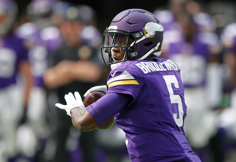 In this Aug. 28, 2016, file photo, Minnesota Vikings quarterback Teddy Bridgewater throws a pass during the first half of an NFL preseason football game against the San Diego Chargers, in Minneapolis. Fittingly, the Green Bay Packers will be the opponent