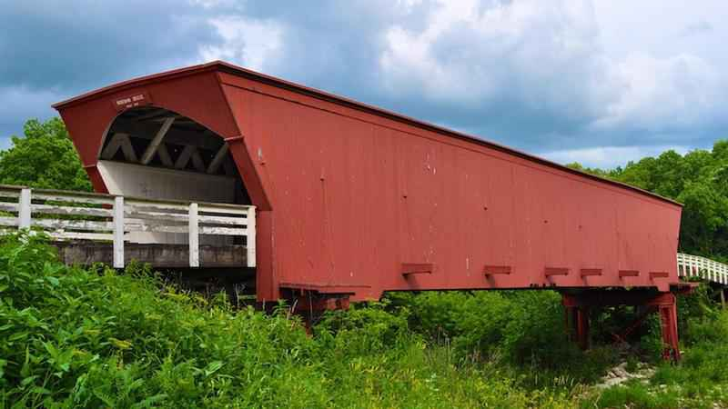 Iconic Iowa covered bridge destroyed by fire Saturday