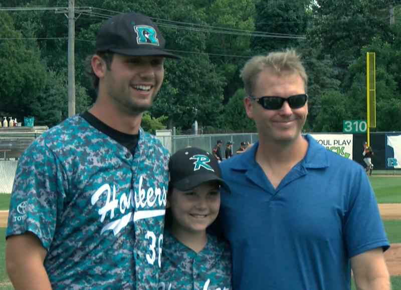 Zach Zubia (pictured left) poses for a photo before the Honkers' game against Mankato on Sunday, Aug. 13