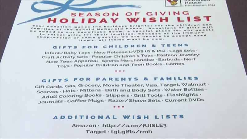 Ronald McDonald House Holiday Wish List