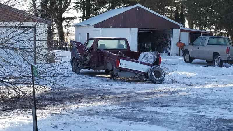 Truck damaged by another vehicle in Mower County Friday morning.