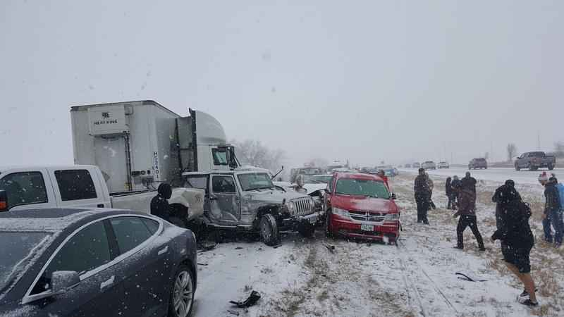 Quick-Moving Storm Triggers Massive Pileup in Iowa<br />