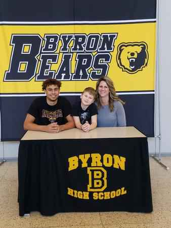 Byron football player Michael Coble (pictured left) signs with Minnesota State University, Mankato