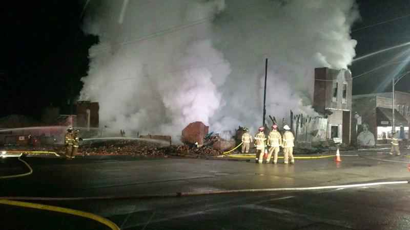 Firefighter battle blaze at downtown Mazeppa bar and grill