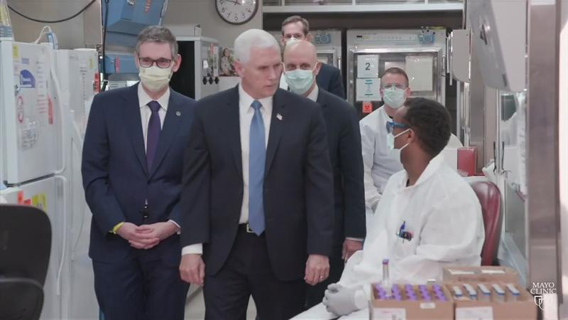 Vice President Pence visits Mayo Clinic in Rochester, criticized for not wearing a mask