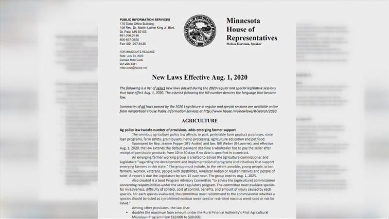 New MN laws effective Aug. 1st