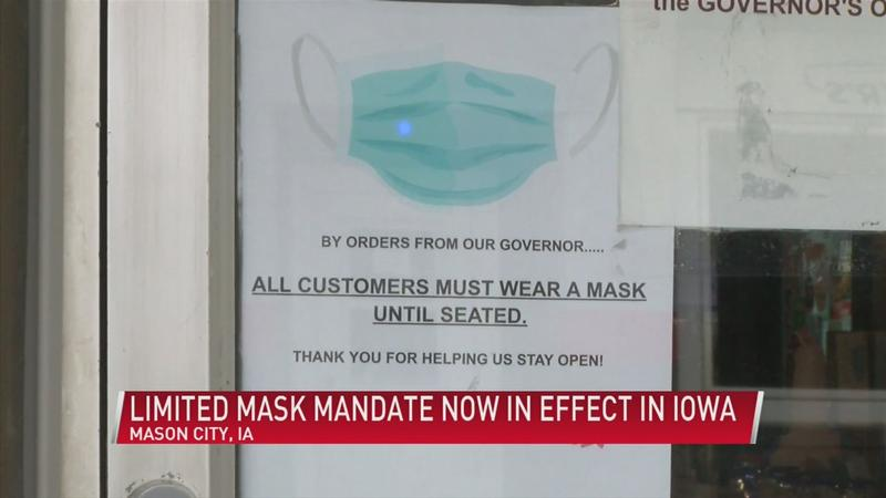Day 1 of limited mask mandate in Iowa