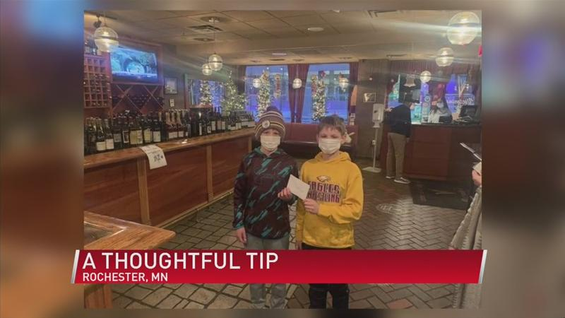 Five young farmers leave a thoughtful tip to local restaurant