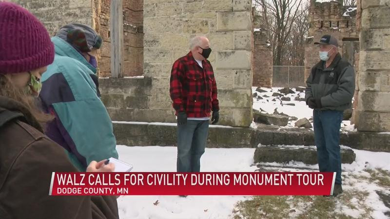 Walz calls for civility during Monument tour