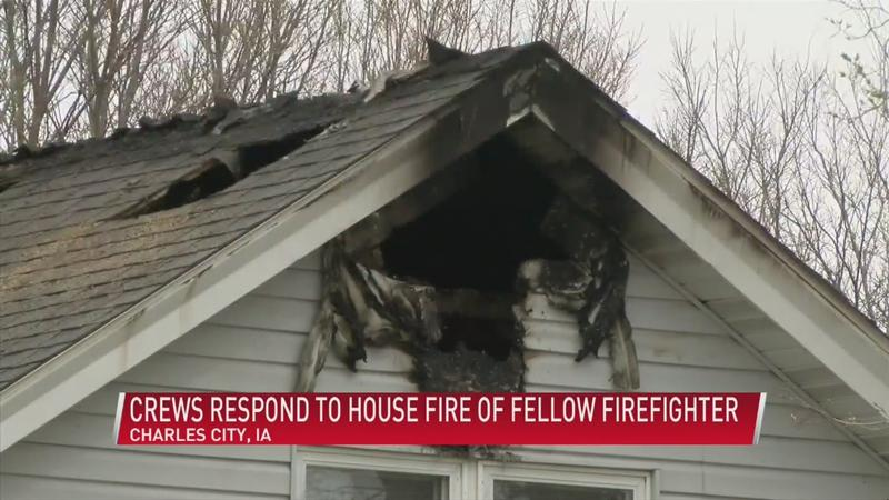 Crews respond to house fire of veteran firefighter in Charles City