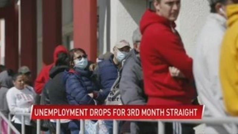 Unemployment rates fall statewide for third month in a row