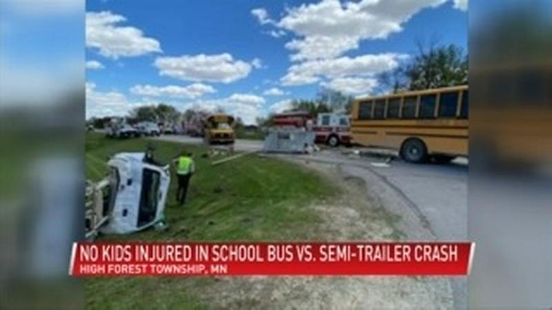 UPDATE: Semi driver facing charges following a crash involving a school bus