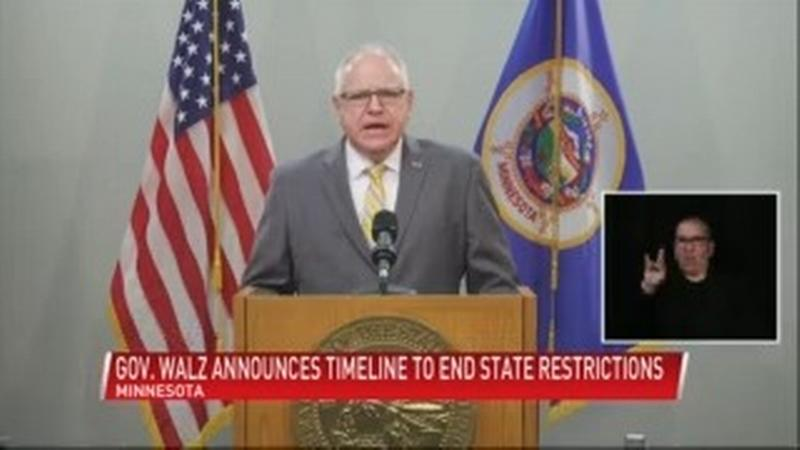 Walz announces 3-step plan for ending COVID restrictions; mask mandate to be lifted by July 1