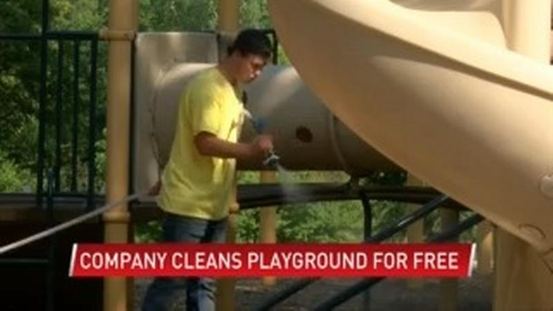 Stewartville company cleans playground for free