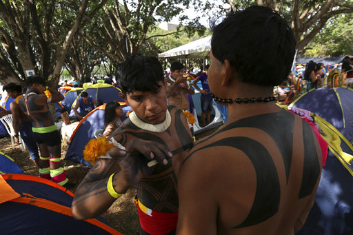 Indigenous Brazilians set up camp to lobby for their rights